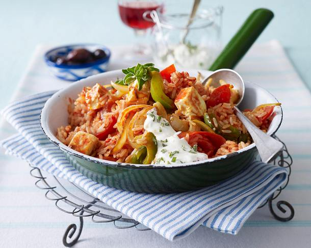 Tomatenreis zu Feta und Dip Rezept