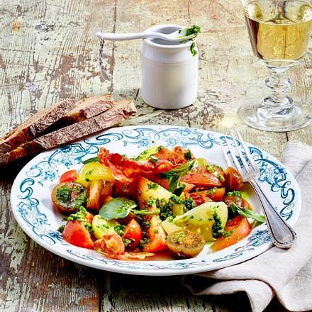 Tomatensalat mit Brunnenkresse und Speck Rezept