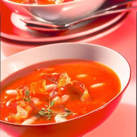 Tomatensuppe mit Bohnen Rezept