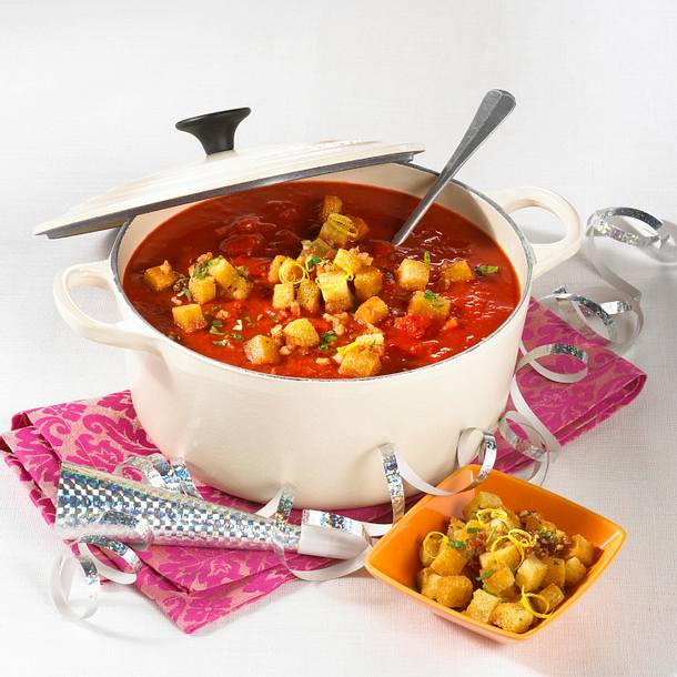 Tomatensuppe mit Speck-Croutons Rezept