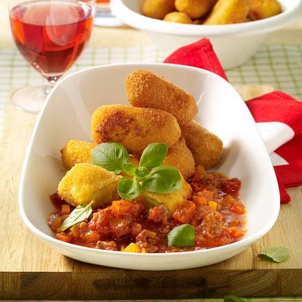 Topinambur-Kroketten mit Bolognese-Soße Rezept