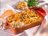 Tortellini-Erbsen-Auflauf mit Champignons und Schinken Rezept