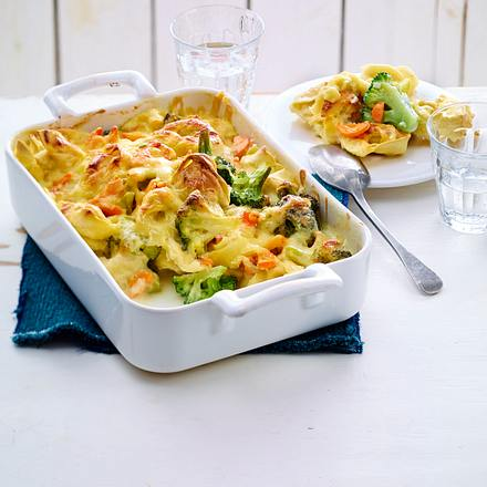 Tortelloni-Brokkoli-Auflauf mit Gorgonzola und Parmesan Rezept