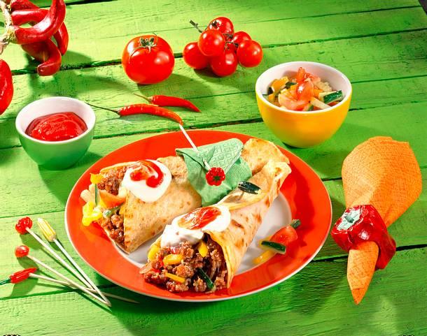 Tortilla gefüllt mit Hackfleisch und Gemüse Rezept