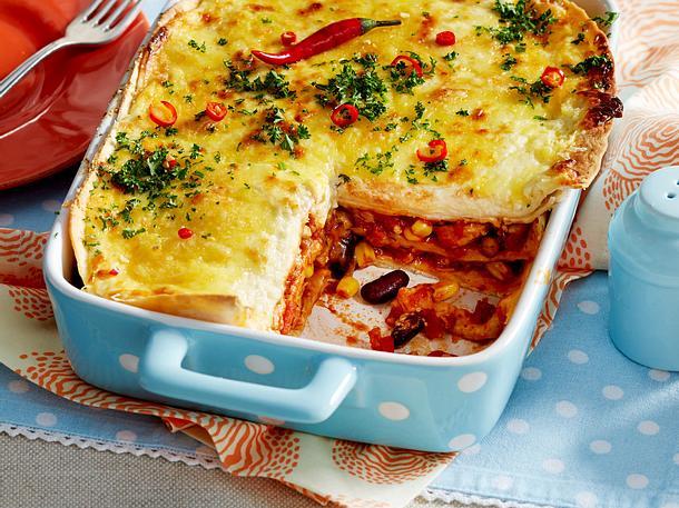 Tortilla-Lasagne mit Hähnchen Rezept