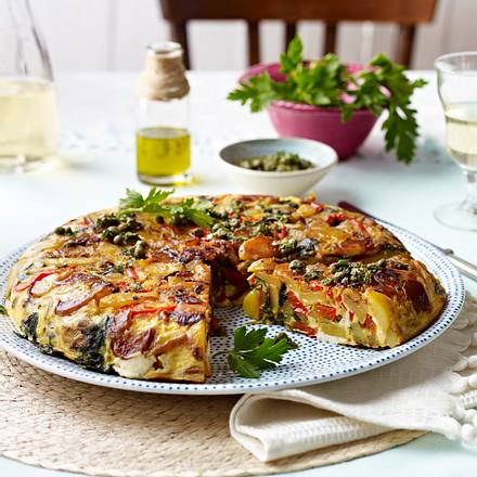 Tortilla mit Paprika, Spinat und Feta Rezept