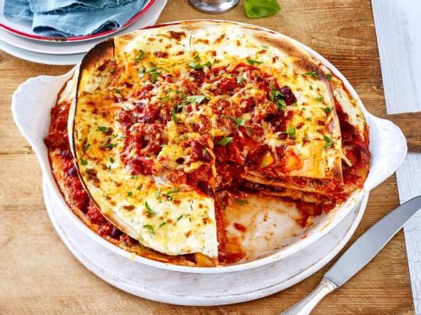 Tortilla-Torte mit Käsekruste Rezept