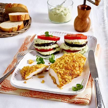 Tortillachips-Schnitzel mit Auberginentürmchen Rezept