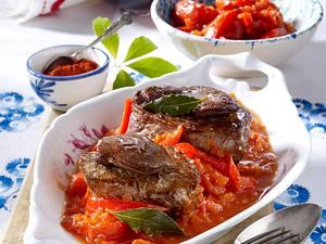 Tournedos mit Letscho (Paprika-Tomaten-Gemüse) Rezept