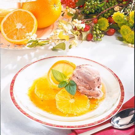 Trüffel-Eis auf Karamel-Orangen Rezept
