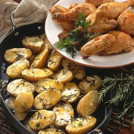 Überbackene Kartoffeln mit Hähnchen Rezept