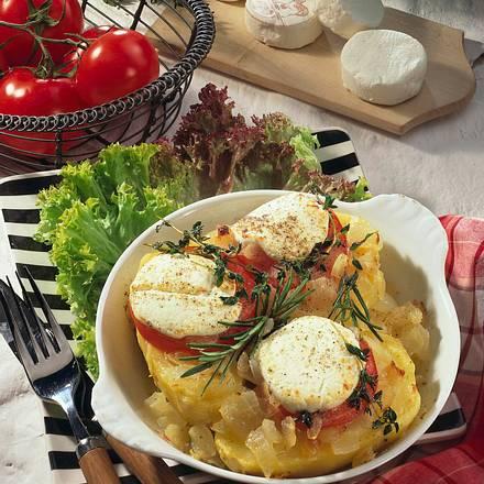 Überbackene Kartoffeln mit Zwiebeln und Ziegenkäse Rezept