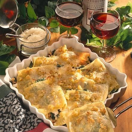 Überbackene Lasagnetaschen mit Ricotta-Spinat-Füllung Rezept