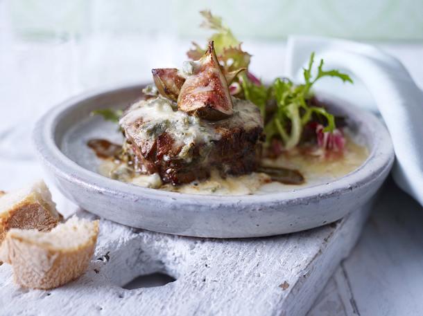 Überbackene Rindermedaillons mit Feigen und Gorgonzola-Mascarpone-Creme Rezept