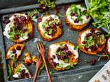Überbackene Süßkartoffelscheiben zu Salat Rezept