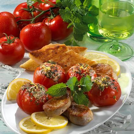 Überbackene Tomaten mit Gremulata zu Schweinemedaillons Rezept