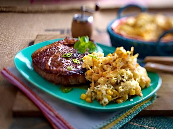 Überbackener Sour-Cream-Reis zu Steak Rezept