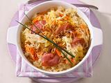 Überbackenes Sauerkraut mit Möhren und Lachsschinken Rezept