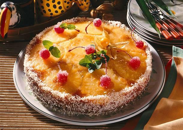 Umgedrehter Ananas-Kokos- kuchen Rezept