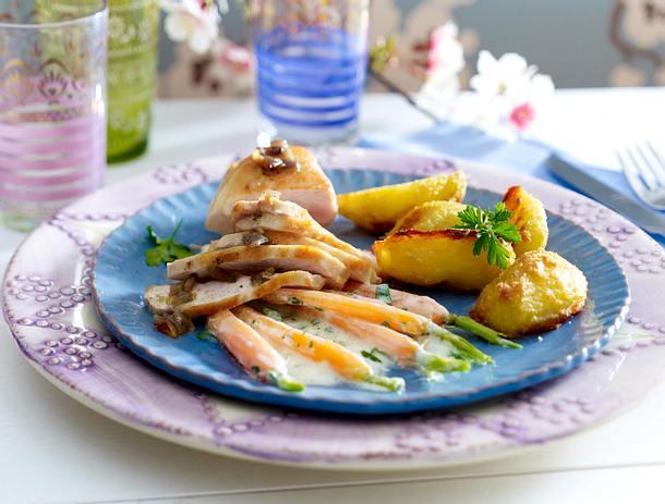 Vanille-Hähnchenfilet zu Knusper-Kartoffeln und Honig-Möhren Rezept