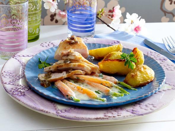 Vanille-Hähnchenfilet zu Knusper-Kartoffeln und Schmand-Honig-Möhren Rezept