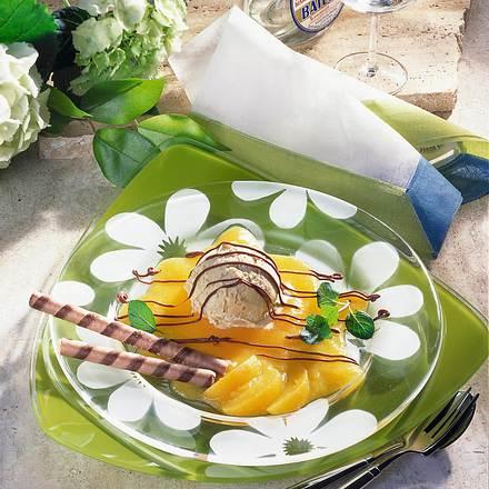 Vanille-Honig-Eis auf Pfirsichmark Rezept