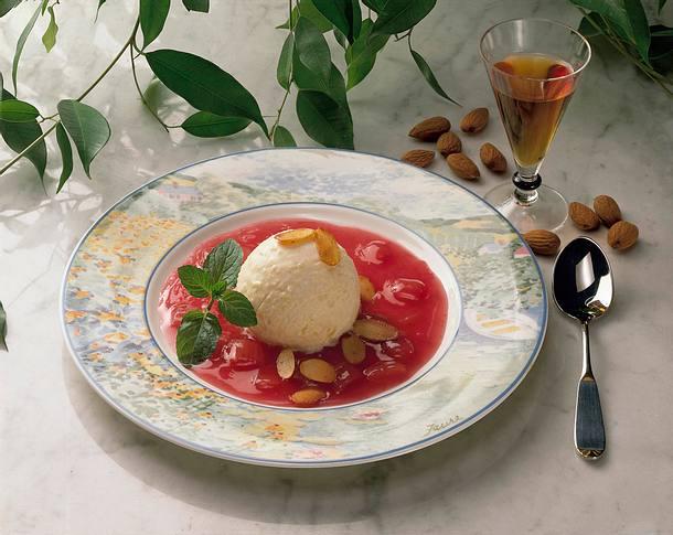 Vanilleeis auf Rharbarber Rezept
