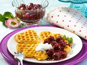 Vanillewaffeln mit Kirschgrütze und Joghurt (Diabetiker) Rezept