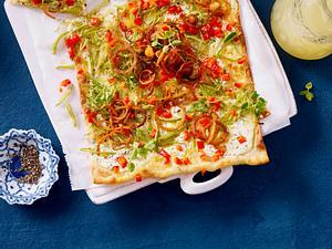 Vegetarischer Bohnen-Flammkuchen Rezept