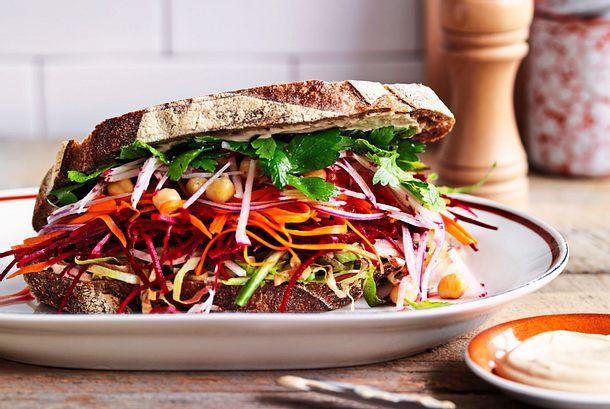Da haben wir den Salat Veggie-Klappstulle Rezept