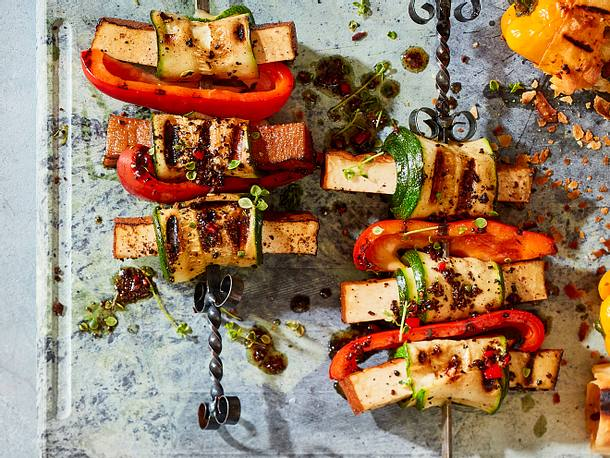 Veggiespiess mit Tofu in Espresso-Honig-Marinade Rezept