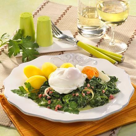Verlorene Eier auf Spinat Rezept