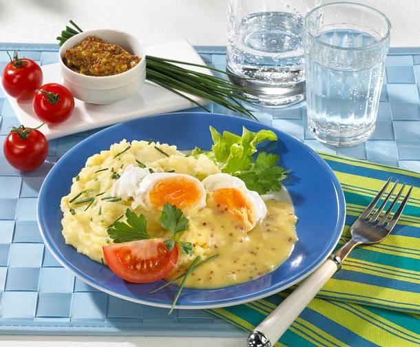 Verlorenes Ei mit Senfsoße & Püree Rezept