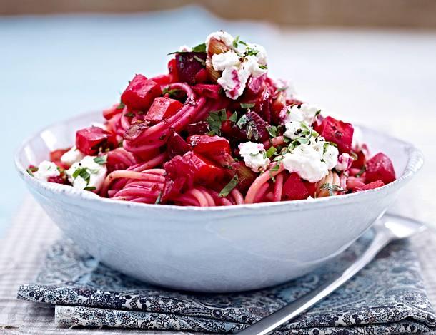 Violettes Ofengemüse mit Spaghetti & Ziegenfrischkäse Rezept