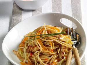 Vollkorn-Spaghetti mit Weißkohl, Putenfilet, Paprika und süß-sauer Soße Rezept