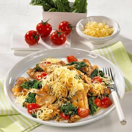 Vollkornschmarrn mit Spinat und Käse Rezept