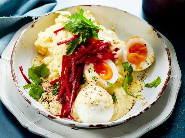 Wachsweiche Eier in Senfsoße Rezept