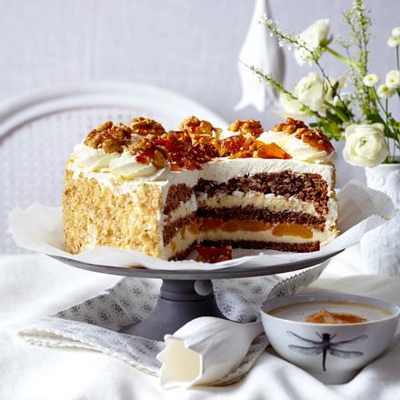 Walnuss Vanillecreme Torte Mit Karamellsplittern Rezept Lecker