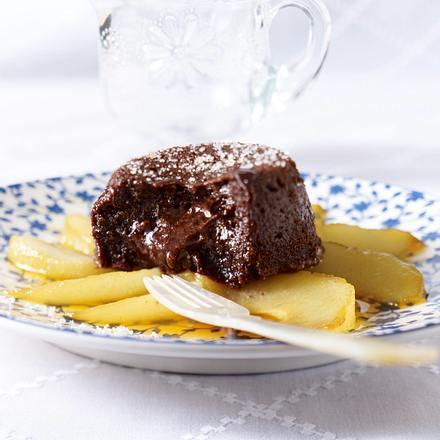 Warme Schokoküchlein zu Birnen Rezept