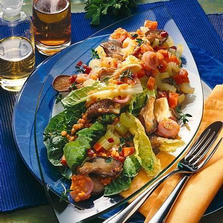 Warmer Salat mit Austernpilzen & Linsen Rezept