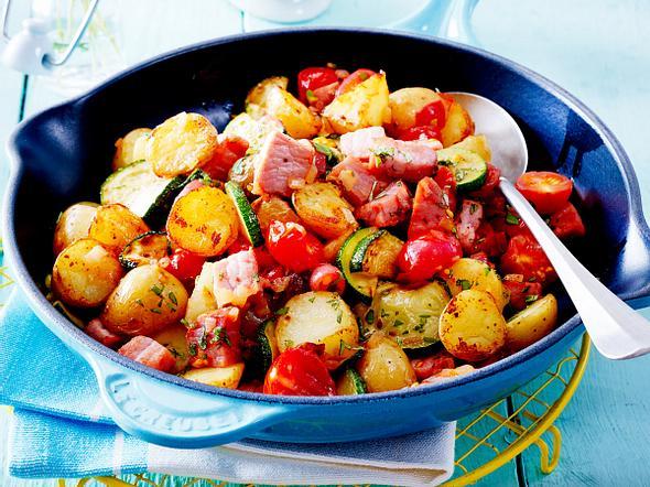 Kartoffel-Kasseler-Pfanne mit Senfsoße Rezept