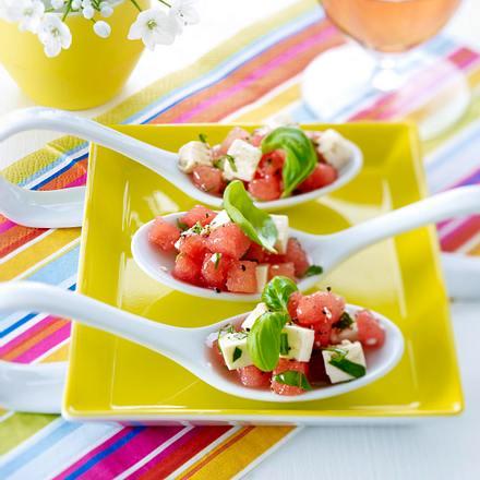 Wassermelone mit Feta und Basilikum Rezept