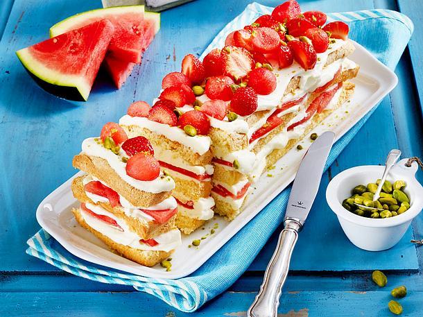 Wassermelonen-Erdbeerkuchen Rezept