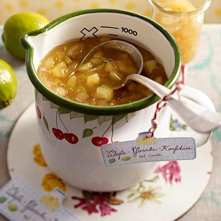 Weiße-Pfirsiche-Konfitüre mit Limette Rezept