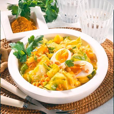 Weißkohl-Curry mit Ei Rezept
