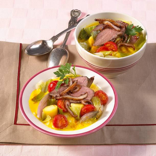 Weißkohl-Curryeintopf mit Entenbrust Rezept