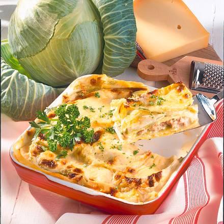 Weißkohl-Mett-Lasagne Rezept