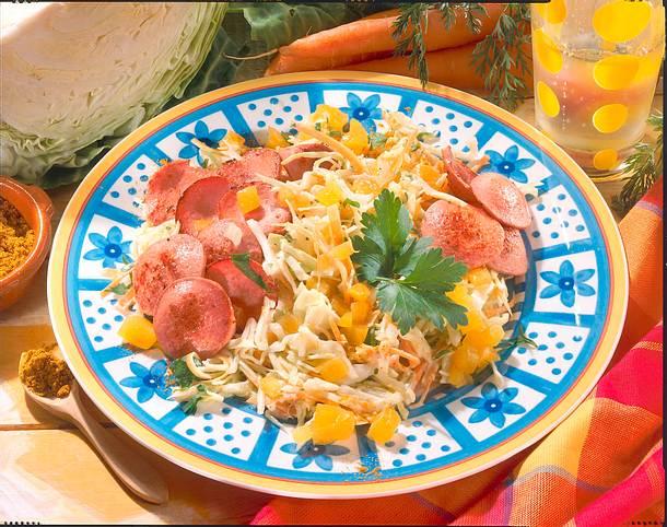 Weißkohlsalat mit Fleischwurst Rezept