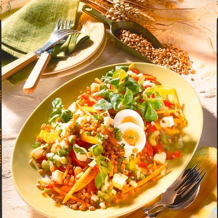 Weizenkörner-Salat mit Käse Rezept