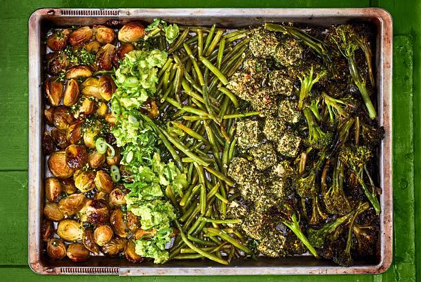 Wellness aus dem Ofen: Wohlsein wünschen Bohnen und Brokkolini Rezept